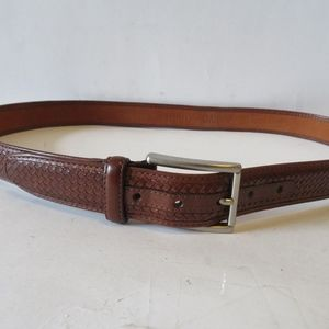 COLE HAAN BROWN LEATHER BRAIDED DESIGNED BELT L